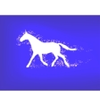 Silhouette of a running horse on a blue background vector image