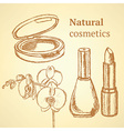 Sketch beauty equipment with orchid vector image
