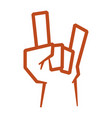 cute hand up with rock symbol vector image