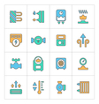 Set line icons of heating vector image