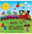 train with school supplies vector image