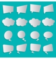 Blank white simple bubbles set green background vector image