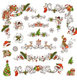 Set of Christmas ornate page decorations and vector image