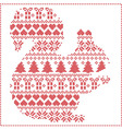 squirrel silhouette in christmas pattern vector image