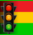 Traffic light on striped background vector image