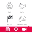 Race flag timer and motorcycle helmet icons vector image