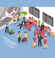airport departure lounge isometric poster vector image