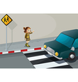 A girl pointing at the car near the pedestrian vector image vector image