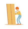 young smiling carpenter man building new furniture vector image