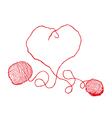 Two red clews in heart form vector