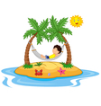 Boy relaxing in a hammock vector image
