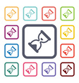 sand watch flat icons set vector image