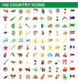 100 country icons set cartoon style vector image