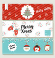 merry christmas cute retro banner collection vector image