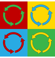Pop art arrows circle icons vector image