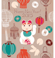 Chinese lanterns lucky cat vector image vector image