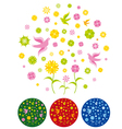 flowers and birds background vector image vector image