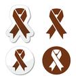 Brown ribbon anti-tobacco symbol awereness vector image