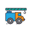 Crane truck construction vehicle flat line vector image