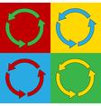 Pop art arrows circle icons vector image