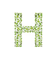 Spring green leaves eco letter H vector image