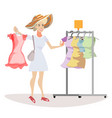 woman chooses what to wear vector image
