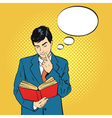 reading book comic think bubble vector image