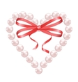 Pearl heart with bow vector image vector image