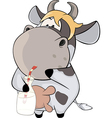 A small cow with a milk bottle Cartoon vector image vector image