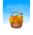 Summer background Basket full of flowers and a vector image vector image