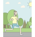Caucasian hipster man jogging in the park vector image