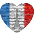 Flag of France on a brick wall in heart shape vector image