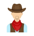 Cowboy icon in cartoon style isolated on white vector image