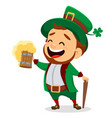 leprechaun with a pint of beer vector image