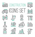 linear under construction icons set universal web vector image