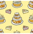 Seamless pattern with cakes on warm dotted vector image