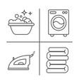 washing ironing clean laundry line icons washing vector image