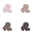 Set of paper stickers on white background watch vector image