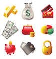 9 highly detailed money icons vector image