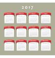 calendar 2017 sun vector image
