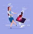 business woman having problem working with broken vector image