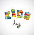 Kids day text created from bricks vector image