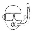 scuba diver with a dive mask and snorkel vector image