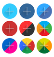 Social network web icon set with plus sign vector image