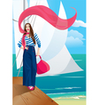 Beautiful woman on pier Portrait frame with yacht vector image