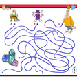 maze game with fantasy characters vector image