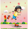A girl with a rollerskate vector image vector image