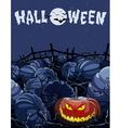 cartoon halloween night in a field with pumpkins vector image