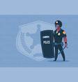 african american policeman hold shield wearing vector image