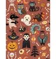 Cute Halloween seamless pattern with cartoon vector image